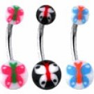 Surgical Steel Banana Belley  with Butterfly uv ball
