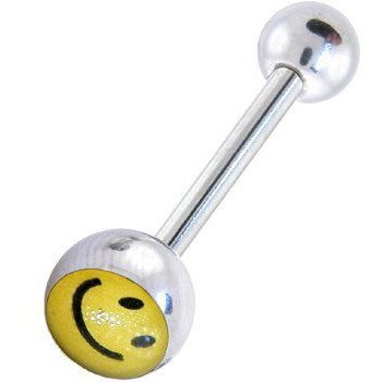 Surgical Steel Tounge Barbell with Smiley Face Logo Ball