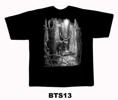 Black colour T-Shirt with Fabric printing Deer Design