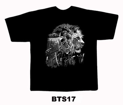 Black colour T-Shirt with Fabric printing Lion Design