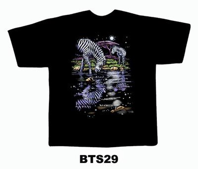 Black colour T-Shirt with Fabric printing Zebra Design