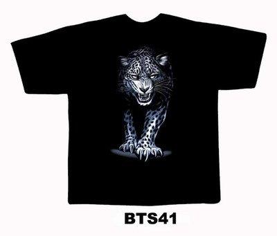 Black colour T-Shirt with Fabric printing Cheetah Design