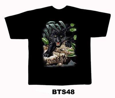 Black colour T-Shirt with Fabric printing Black cheeta Design