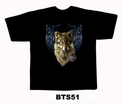 Black colour T-Shirt with Fabric printing Fox Face Design