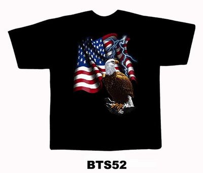 Black colour T-Shirt with Fabric printing USA Flag With Eagle Design