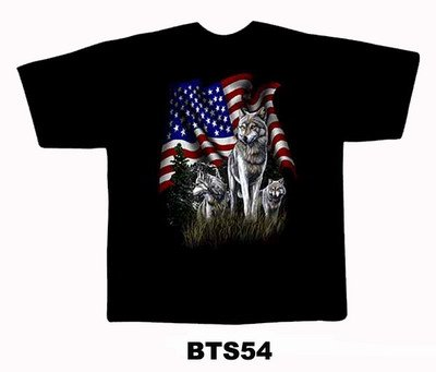 Black colour T-Shirt with Fabric printing USA Flag With Fox Design