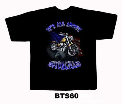 Black colour T-Shirt with Fabric printing Motorcycle Design