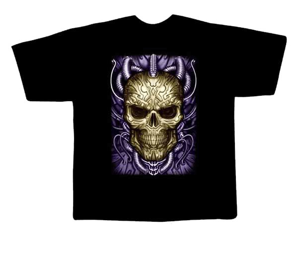 Black colour T-Shirt with Fabric printing Skull Design