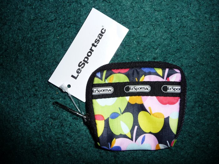 New LeSportsac Penny Coin Purse/Key Chain Stereo Apples