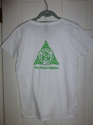 Womens Irish V-Neck T-Shirt:  Three Paths to Happiness: Malarkey - Good Craic - Shenanigans - Small