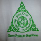 Womens Irish V-Neck T-Shirt:  Three Paths to Happiness: Malarkey - Good Craic - Shenanigans - Large