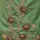 green metal sequin salwar kameez / lehenga choli designer partywear in tussar cotton. free S& H
