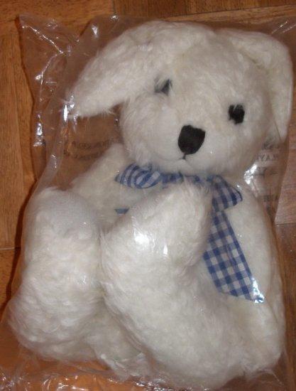 White Rabbit with blue ribbon