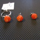 Coral Earrings and a ring in 925 Silver (set of 3)