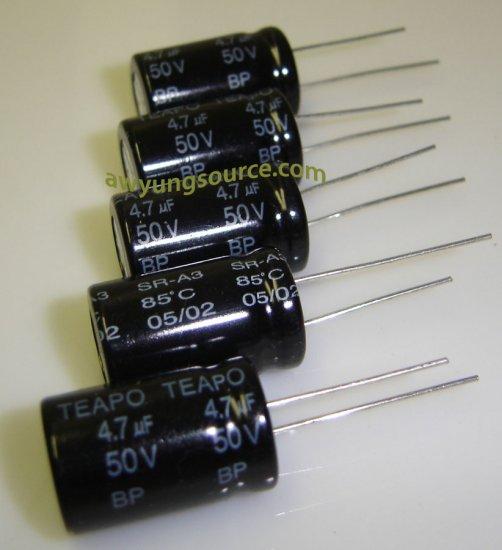 Bi-Polar 4.7uF-50V Aluminum Electrolytic Capacitor - 5 Pieces
