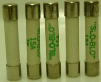 15 Amp Slo-Blo Ceramic Fuse - 5 Pieces