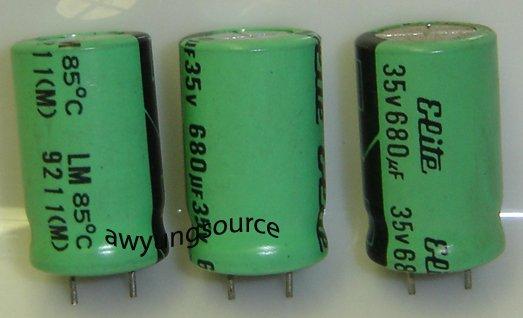 680uF-35V ELITE LM SNAP ELECTROLYTIC CAPACITORS 3 PCS!