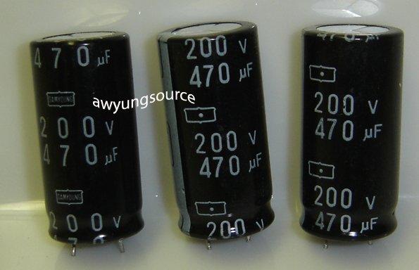470uF-200V SAMYOUNG ELECTROLYTIC CAPACITORS 3 PCS!