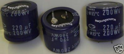 220uF-200V SAMHWA ELECTROLYTIC 85C CAPACITORS 3 PCS