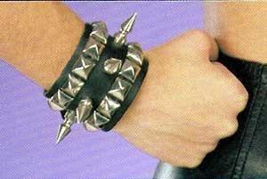 Leather Spike Leather Wristband - Item B62