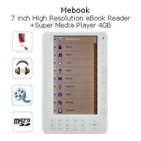 Mebook - 7 Inch High Resolution eBook Reader + Super Media Player (4GB)