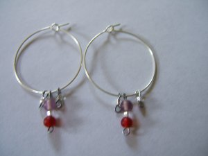 Red and Purple Earrings