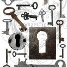 Antique Keys Digital Collage Sheet