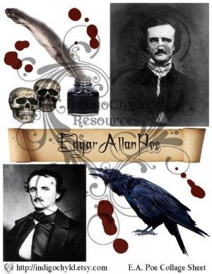 Edgar Allan Poe Digital Collage sheet