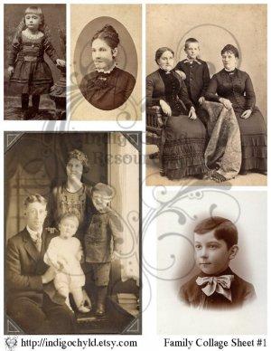 Vintage Family Digital Collage Sheet