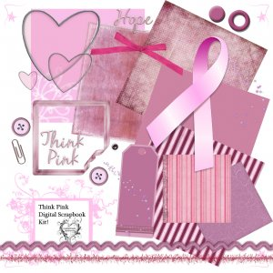 Think Pink Digital Scrapbook Kit