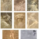 Bored Gals ATC/ACEO Digital Backgrounds Collage sheet