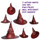 7 Witch Hat PNG Pack