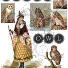 Owl Witch Digital Collage Sheet