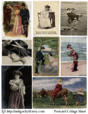 Postcard Digital Collage Sheet
