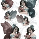 Edwardian Butterfly Gal Digital Collage Sheet