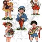 Five Big Eyed Kitschy Paper Dolls