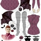 Bat Queen Altered Art Paper Doll Base Kit Digital Collage Sheet PDF