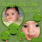 Babys First Taste of Peas Digital Premade Scrapbook Page PNG