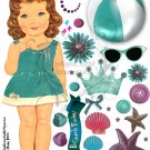 Beach Baby Bree Paper Doll Digital Collage Sheet JPG