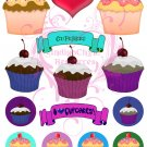 I Love Cupcakes Digital Collage Sheet JPG