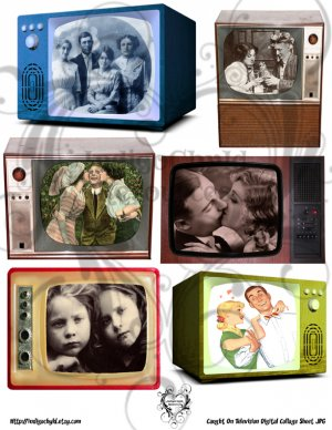 Caught On Television Digital Collage Sheet JPG