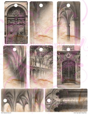 Gothic Tags Digital Collage Sheets JPG