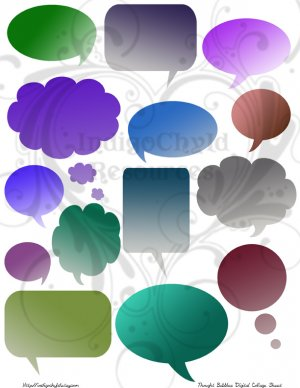 Thought Bubble Digital Collage Sheet JPG