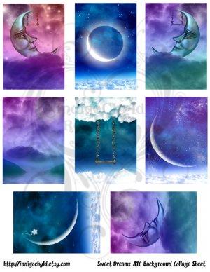 Sweet Dreams ATC Base Digital Collage Sheet JPG