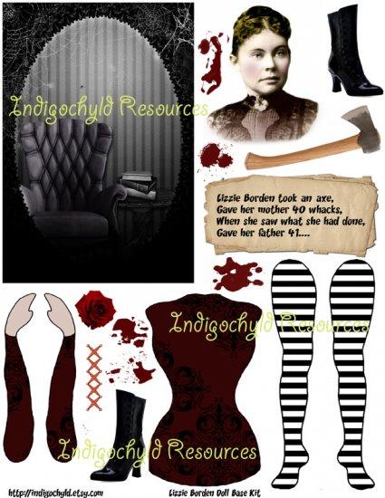 Lizzie Borden Altered Digital Paper Doll Kit JPG