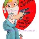 Single Vintage Valentine Digital Collage Sheet JPG