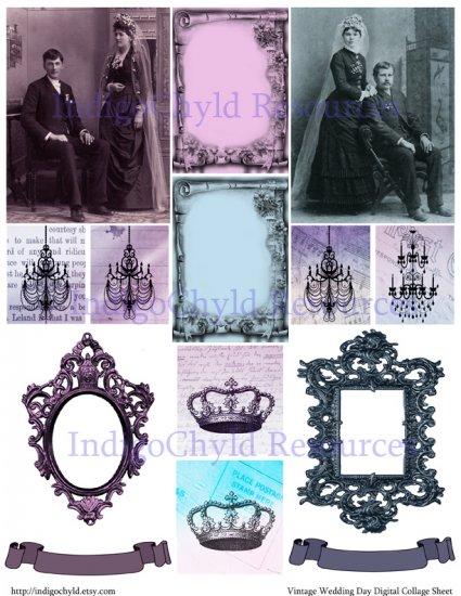 Vintage Wedding Digital Collage Sheet JPG