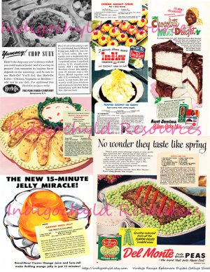 Vintage Recipes Kitch Ad Digital Collage Sheet JPG