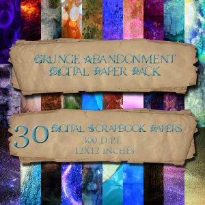30 Grunge Abandonment DigitalScrapbook Paper Pack