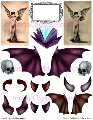 Demon Girl Accessories Digital Collage Sheet JPG